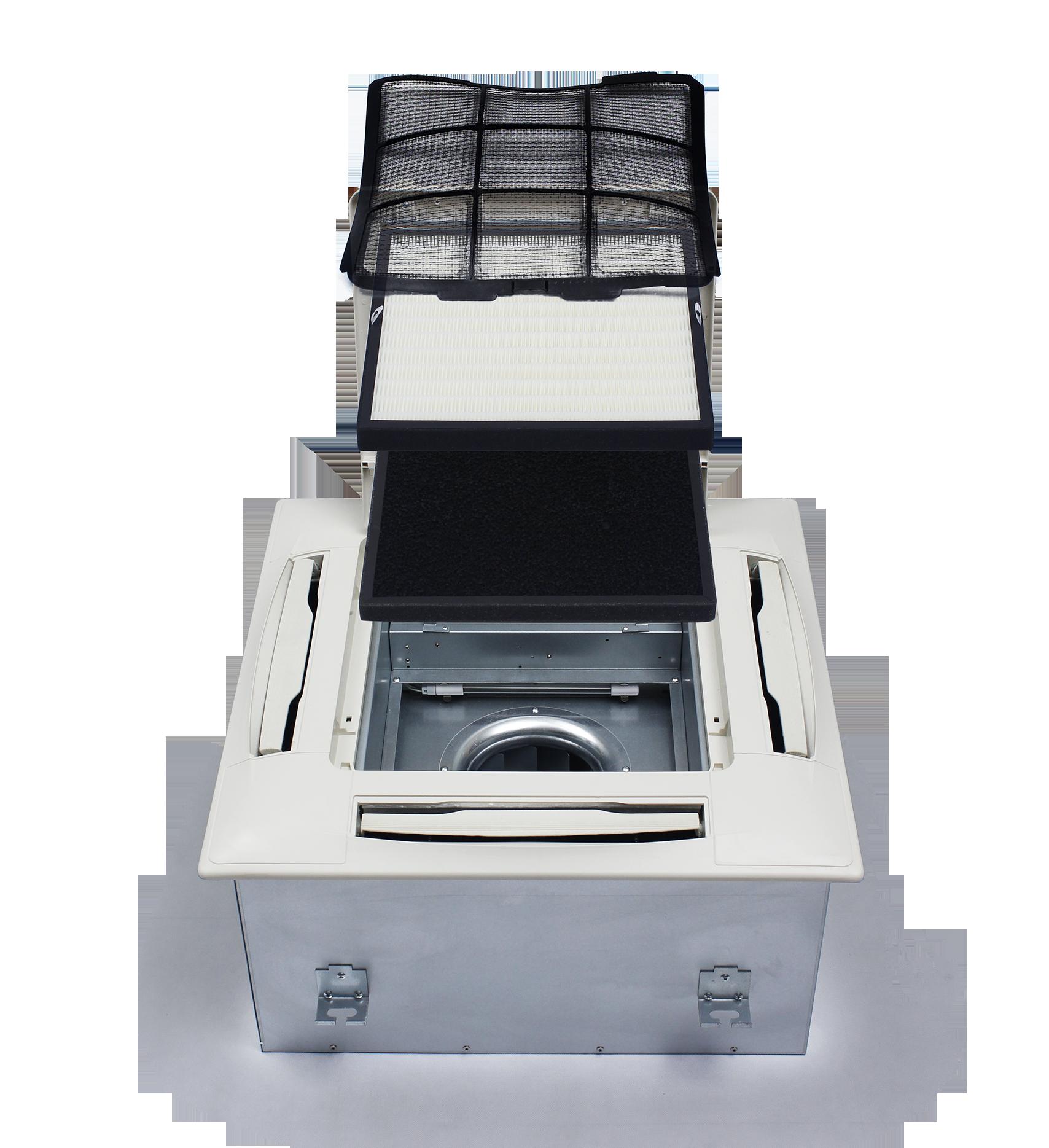 เครื่องฟอกอากาศรุ่นแขวนฝ้า cra 350 QUAD มีระบบไส้กรองหลายขั้นตอน ตั้งแต่กรองฝุ่นหยาบด้วย pre filter กรองฝุ่นละเอียดด้วยระบบ Electrostatic Precipitation (ESP) ร่วมกับ HEPA filter สามารถดักจับฝุ่นละเอียดระดับ PM 2.5 ได้มากกว่า 99% และ กรองกลิ่นและสารเคมีด้วย Activated carbon filter