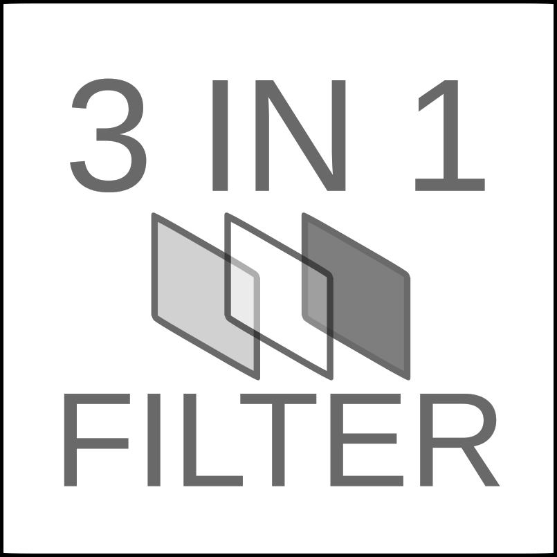ไส้กรองหนึ่งเดียวที่รวมทั้ง Pre filter ใช้สำหรับดักจับฝุ่นหยาบ และ HEPA FILTER ที่ใช้ในการดักจับฝุ่นละเอียดที่สามารถดักจับฝุ่นละเอียดขนาด pm 2.5 ได้อย่างดีเยี่ยม และ CABON FILTER ที่ใช้เดักเก็บกลิ่น และสารเคมี จึงสะดวกสบายอย่างมากสำหรับการเปลี่ยนไส้กรอง